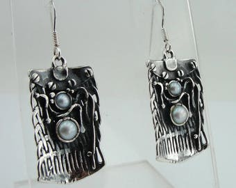 925 Silver Pearl Earrings, Handmade Sculpted Sterling Silver Long Pearl Earrings, June Birthstone, Pearl Jewelry, Wedding Gift  (2149p)