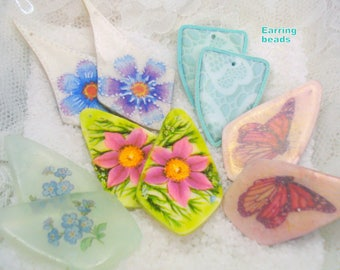 Polymer clay, handmade, crafted, foiled, earring beads, shapes, dangle, colorful, assorted, components, beautiful, blossom