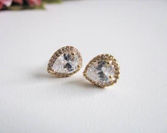 Gold Tone Wedding Earrings Cubic Zirconia Earrings Wedding Jewelry Bridal Accessory Bridal Earrings Bridesmaid Earrings