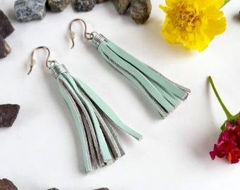 Boho Leather Fringe Earrings - Seafoam - Genuine Leather - Recycled - Sterling Earwires - Dangle