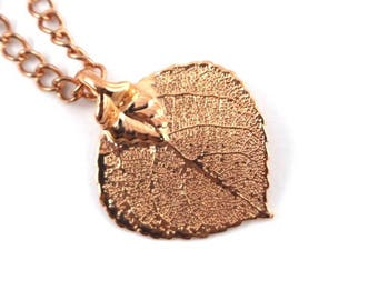 Real Aspen Leaf rose gold pendant necklace with rose gold chain