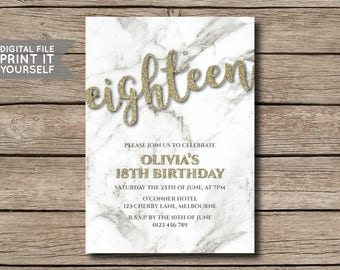 DIY Gold Glitter & Marble Birthday Party Invitation, Invite, 18th, 21st, 30th, 40th, 50th, Milestone - DIGITAL FILE - Print it yourself