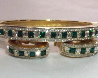I.Magin Emerald and Diamond look Bracelet and Earrings Set