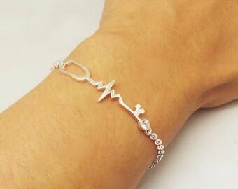Sterling Silver Stethoscope Nurse Bracelet - Stethoscope Jewelry, Medical Nurse Jewelry Bracelet, GIft for Nursing Graduation, Heartbeat