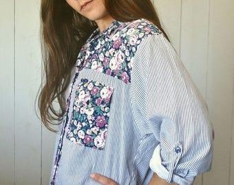 34% Off Sale - Floral Color Block Button Up Early 90s Blue White Striped Boho Folk Vintage Oxford Shirt Medium Large
