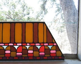 34% Off Sale - Faux Stained Glass - Vintage Trapezoid Glass - 1960s Retro Glass Piece - DIY Repurposing Brown Yellow Mod Print Glass