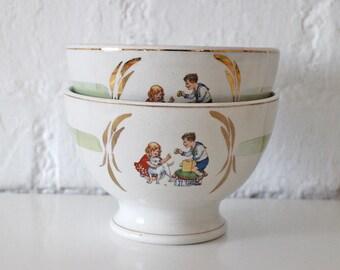 2 Antique Café au Lait bowls - Children Breakfast bowls - Modernism - 1920s
