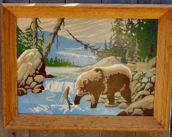 Mid Century Paint by Number Grizzly Bear in Mountain Stream