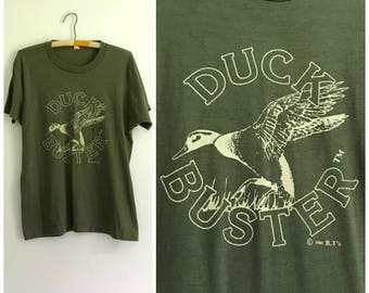 "vintage 1980s soft, thin forest green ""Duck Buster"" hunting tee M"