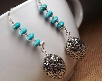 Silver Howlite Turquoise Filigree Statement Dangle Earrings