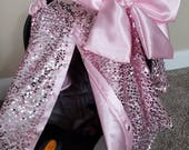 Carseat Canopy Carseat Cover Elegant Pink Sequin Pink Satin with Large bow nursing cover car seat canopy car seat cover
