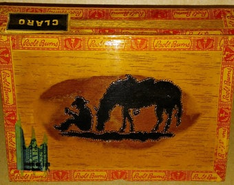 Vintage Cigar Box with Wood Burned Cowboy