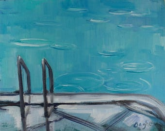Original Artwork-Giclee-Archival Reproduction Print-Pool Painting-Original-Angela Ooghe-Rain-Water-Impressionism-Fine Art Print-8 x 10