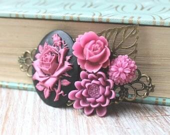 Pink Wedding Hair Piece - Wedding Hair Comb - Fall Bridal Hair Clip - Cameo Wedding Hair Accessories - Flower Hair Clip - Floral Hair Comb