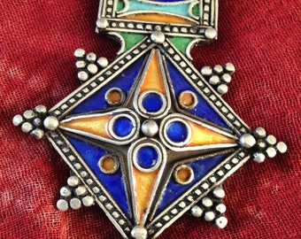 Beautiful SILVER Berber Cross with ENAMEL, incl. leather necklace, Moroccan Sahara