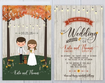 Fall Tree Wedding Invitations | German Shepard Dog Wedding Invitation Set | Wood Plank Wedding Stationery | Sunflower Wedding Invite Suite