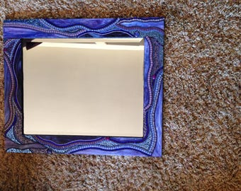 Purple and Blue 21 X 25 Mosaic Mirror