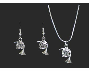 French Horn Necklace and Earring Set, French Horn Jewelry, French Horn Gift, Music Jewelry, French Horn Necklace, French Horn Earrings