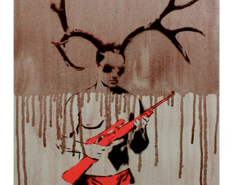 Graffiti Male Form with Antlers Painting MANHUNT on Canvas 16 x 20  Pop Art Inspired Original Warhol Banksy Street Art Painting on Canvas