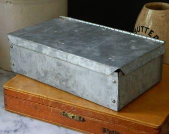 Vintage Little Galvanized Metal Storage Box. Industrial. Home Decor. Office. Farmhouse.