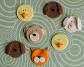 Fondant Animals Bear, Duck, Bunny, Cats and Dog Toppers to Decorate Cupcakes, Cookies or other Goodies