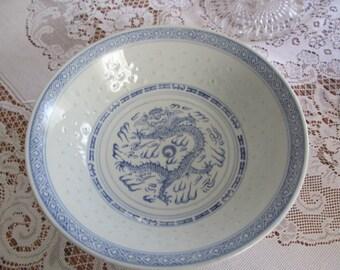 Rice Eye Dragon Porcelain Serving Bowl Blue White Rice Grain