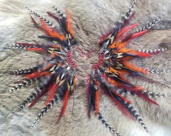 Feather Ear Cuffs - Matching Set - Fire - Red Orange