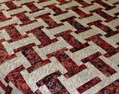 FULL size quilt.  Southwestern Inspired Brick Red Batik with Grey Stars Warm rustic cabin feel.