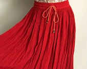 90s Red Crinkle Rayon Flowy Indian Skirt