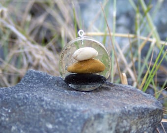 Balanced Rocks Pendant - Real Flower Jewelry - Zen Jewelry- Pendant - Necklace Charm - Flower Jewelry - Rock Pendant