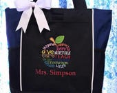 CUSTOM LISTING for Kristen - 7 Teacher Subway Apple Art Tote Bags