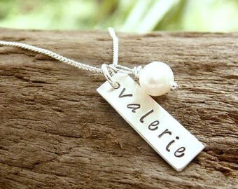 Hand Stamped Name Necklace Sterling Silver Rectangle Tag, Mother Necklace