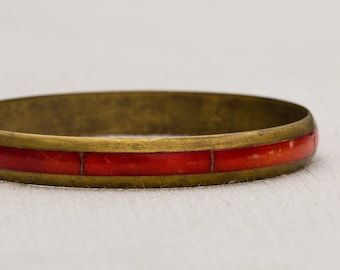 Brushed Gold and Red Deep Burnt Orange Stripe Metal Vintage Bracelet Bangle Costume Jewelry Cuff 7AR