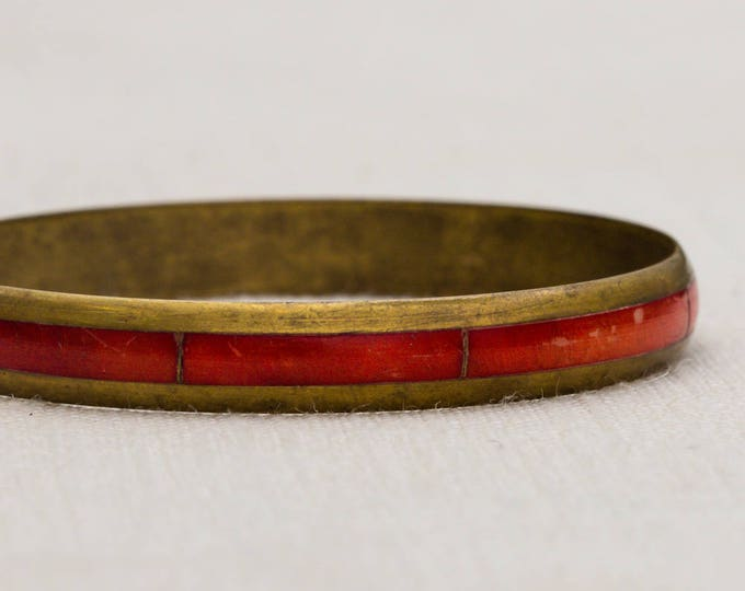Brushed Gold and Red Deep Burnt Orange Stripe Metal Vintage Bracelet Bangle Costume Jewelry Cuff 7AR
