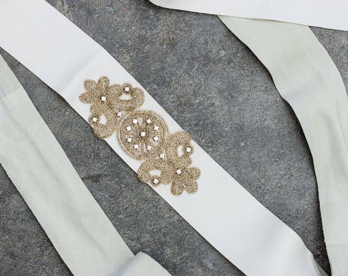 White Leather Ribbon Belt Beaded Rhinestone Art Deco Crystal Applique Handmade Sash Embellished Bling Sparkly 270