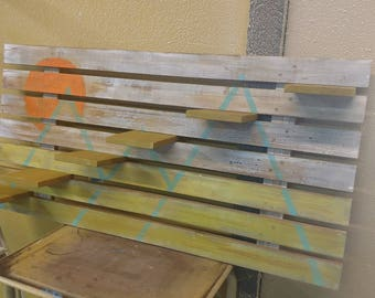 Rustic Mountain Art Slatted Wall Shelves - MADE TO ORDER