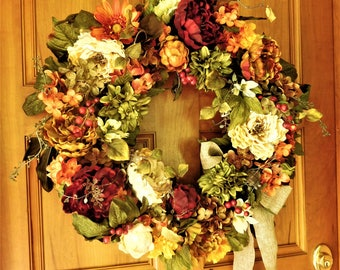 Thanksgiving Wreath , Fall Wreath , Autumn Wreath , Rustic Fall Wreath , Wreath For The Door , Outdoor Wreath , Ready TO SHIP