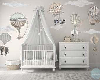 NEW! XL Neutral Set, 7 Hot Air Balloon Animals & 6 Clouds, nursery, baby, hand painted look, Repositionable fabric Wall decals,