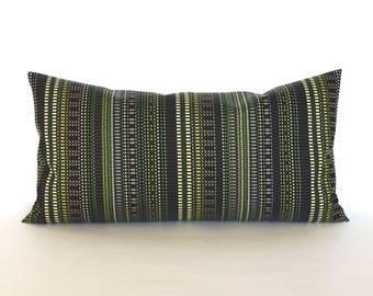 Lumbar Pillow Cover 8x16 Petite Lumbar Green Brown Throw Pillow Cover Modern Stripe Upholstery Fabric Oblong Decorative Pillow