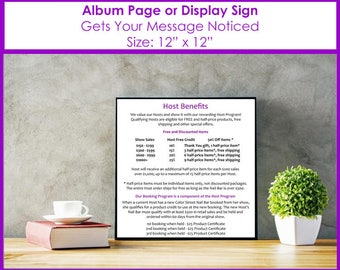 12x12 Host Benefits Album Page or Sign