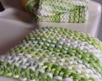 Green Washcloth, Two Pack, Cotton Washcloth, Knit Washcloth, Knit Wash Rag, 100% Cotton, 2 Pack Washcloth, Bathroom, Kitchen, Dishcloth