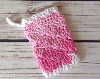 STOCKING STUFFER Pink Soap Saver, Soap Holder, Cotton Soap Pouch, Cotton Washcloth, Shower, Bath Accessory, Soap Pouch, Soap Sock