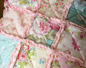Shabby Chic Rag Quilt Baby Girl Gift Minky Security Blanket Lovey Rose Nursery