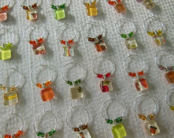 Summer Wine Charms Yellow Corn Orange Leaf Green Apple Set of Six - Glass Wine Charms - Hostess Gift - House Warming Gift - Fall Wine Charms