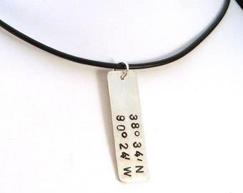 SALE CIJ2017 GPS Latitude Longitude Necklace | Sterling Silver Rectangle | Men's Necklace | Men's Jewelry