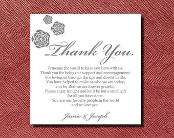 370 Printed Wedding Reception Thank You Place Setting Cards