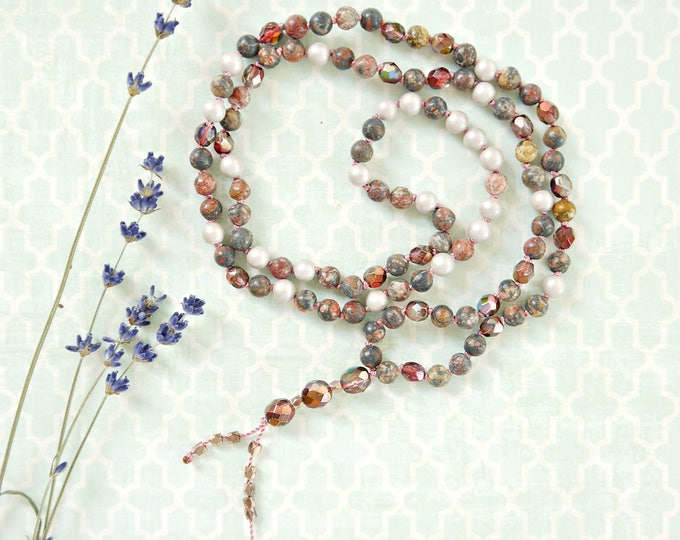 Rhodonite and czech glass bead and glass pearl handknotted tassel necklace in antique rose colors and beige, mala beads, 108 beads, bohemian