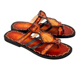 ON SALE Handmade Leather Slides,   Sun And Moon Flat Slip On,  Handpainted Sandals, Boho Sandals - IMAGINATION