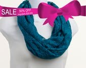 SALE LACE Infinity Scarf - Beautiful Teal Blue ~ SP011-L1