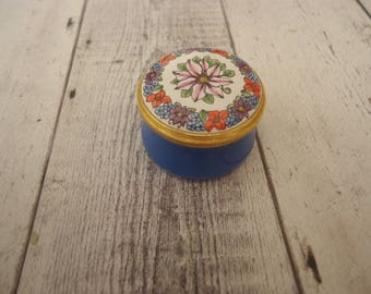 Vintage Pill Box, Staffordshire, England Enamel, Hand Painted, Signed vg